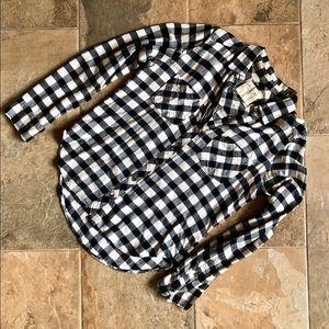 Black & White Checkered Flannel Button Down